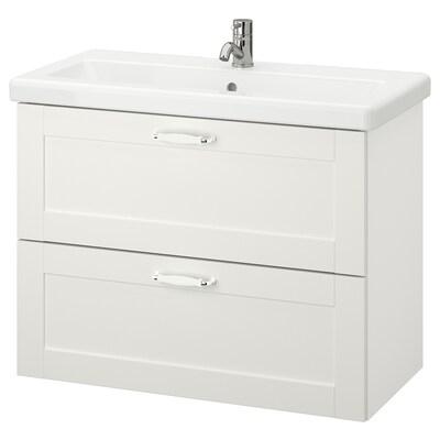 ENHET / TVÄLLEN Armário p/lavatório c/2 gavetas, branco estrutura/branco Pilkån torneira, 84x43x65 cm