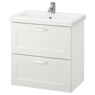 ENHET / TVÄLLEN Armário p/lavatório c/2 gavetas, branco estrutura/branco Pilkån torneira, 64x43x65 cm