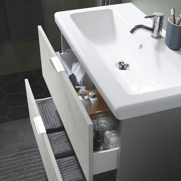 ENHET / TVÄLLEN Armário p/lavatório c/2 gavetas, efeito betão/cinz Pilkån torneira, 84x43x65 cm