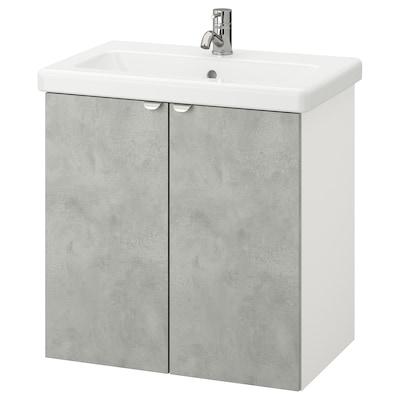 ENHET / TVÄLLEN Armário p/lavatório c/2 portas, efeito betão/branco Pilkån torneira, 64x43x65 cm