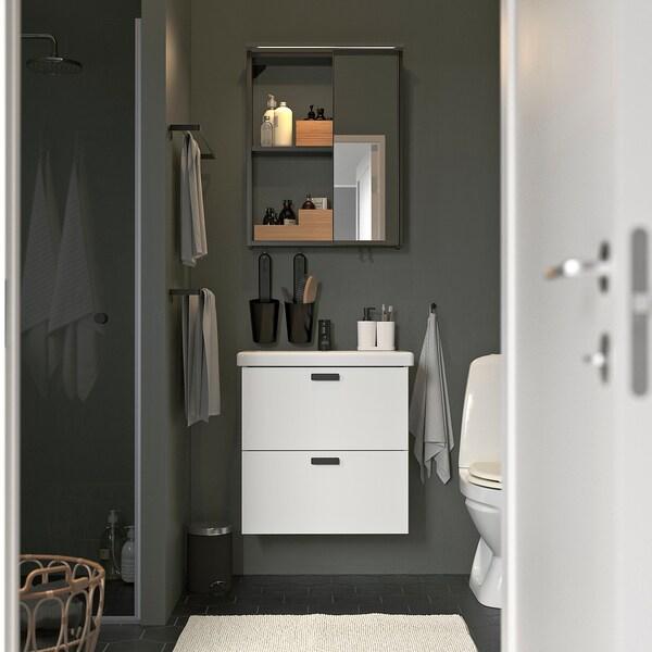 ENHET / TVÄLLEN Móveis p/casa de banho, conj.13, branco/antracite Saljen torneira, 64x43x65 cm