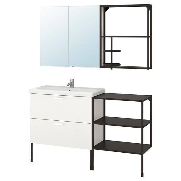 ENHET / TVÄLLEN Móveis p/casa de banho, conj.15, branco/antracite Pilkån torneira, 142x43x87 cm