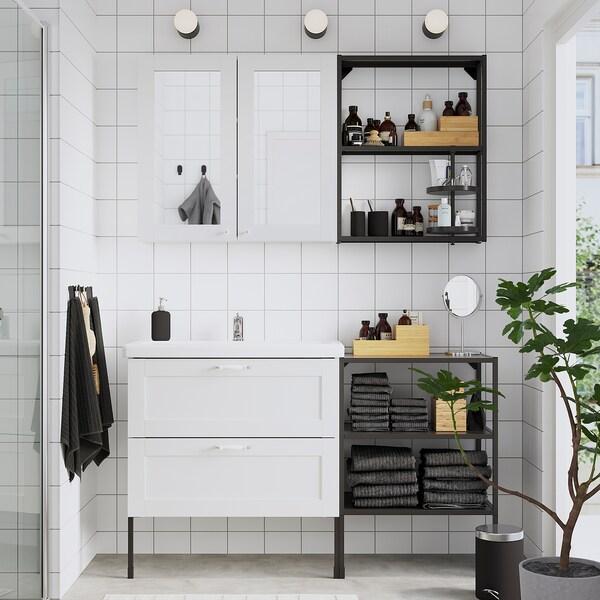 ENHET / TVÄLLEN Móveis p/casa de banho, conj.15, branco estrutura/antracite Pilkån torneira, 142x43x87 cm