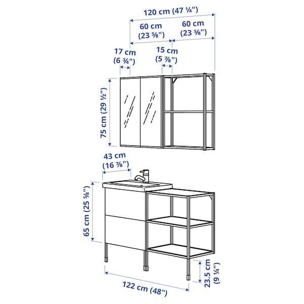 ENHET / TVÄLLEN Móveis p/casa de banho, conj.15, brilh branco/branco Glypen torneira, 122x43x87 cm