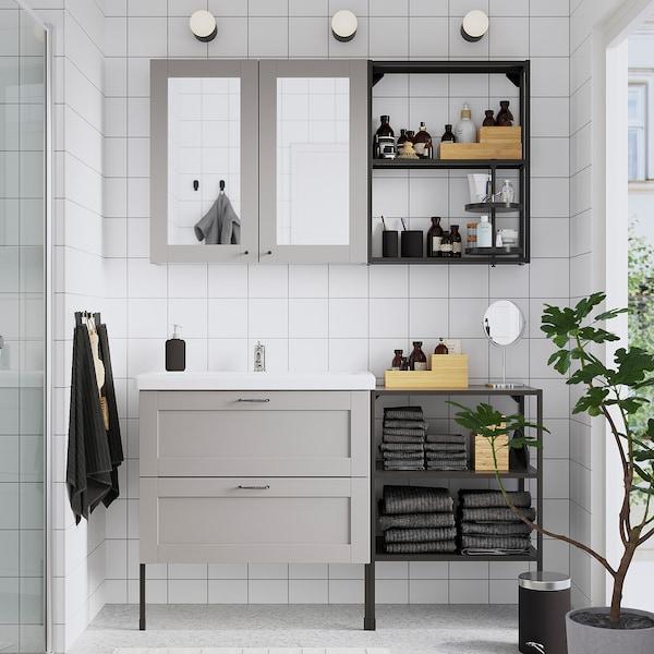 ENHET / TVÄLLEN Móveis p/casa de banho, conj.15, cinz estrutura/antracite Pilkån torneira, 142x43x87 cm
