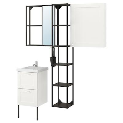 ENHET / TVÄLLEN Móveis p/casa de banho, conj.16, branco estrutura/antracite Pilkån torneira, 44x43x87 cm