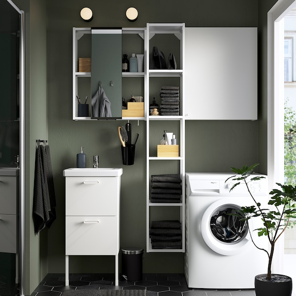 ENHET / TVÄLLEN Móveis p/casa de banho, conj.16, branco/Pilkån torneira, 44x43x87 cm