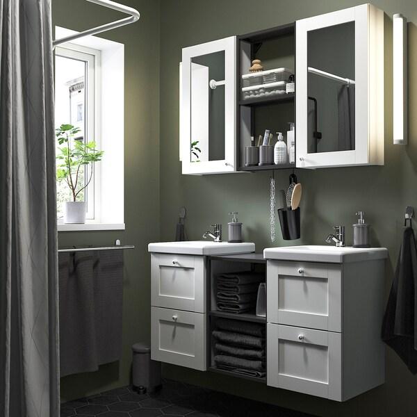 ENHET / TVÄLLEN Móvel casa de banho, conj22, branco estrutura/antracite Pilkån torneira, 124x43x65 cm