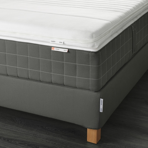 ESPEVÄR Sommier c/colchão de molas, Hövåg firme/firmeza extra/Tussöy cinz esc, 180x200 cm
