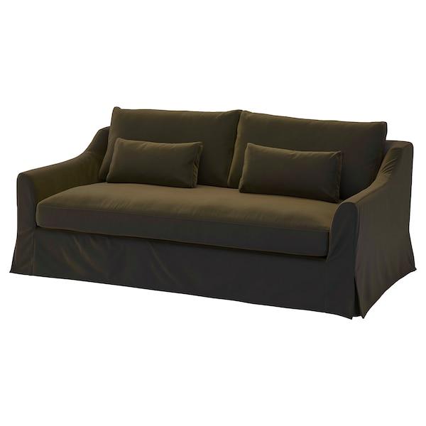 FÄRLÖV Capa p/sofá 3 lugares, Djuparp verde azeitona escuro