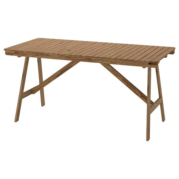 FALHOLMEN Mesa, exterior, castanho claro c/velatura, 153x73 cm