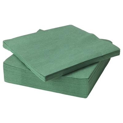 FANTASTISK Guardanapo de papel, verde escuro, 40x40 cm