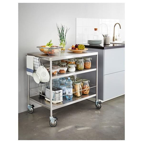 FLYTTA Carrinho de cozinha, aço inoxidável, 98x57 cm