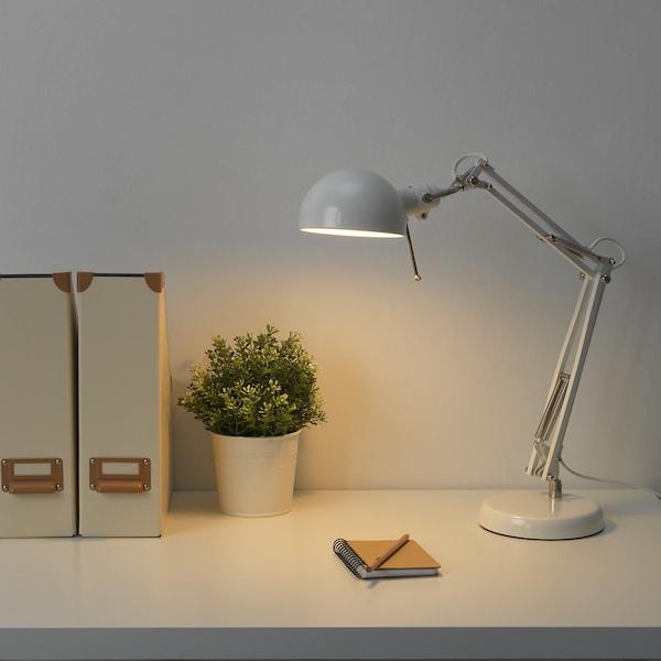 FORSÅ Candeeiro de secretária, branco
