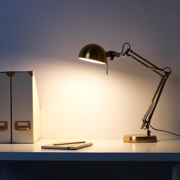 FORSÅ Candeeiro de secretária, bronze