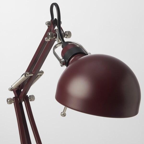 FORSÅ Candeeiro de secretária, vermelho escuro