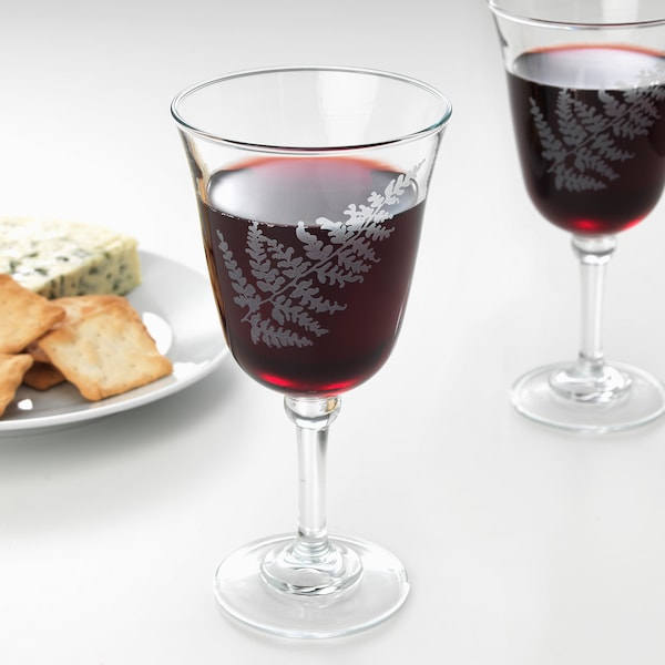 FRAMTRÄDA Copo de vinho, vidro transparente/feto, 30 cl