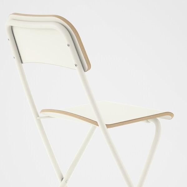 FRANKLIN Banco alto c/encosto, dobrável, branco/branco, 63 cm