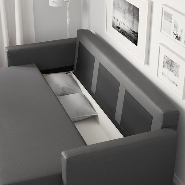 FRIHETEN Sofá-cama de 3 lugares, Skiftebo cinz esc