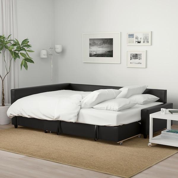 FRIHETEN Sofá-cama de canto c/arrumação, Bomstad preto