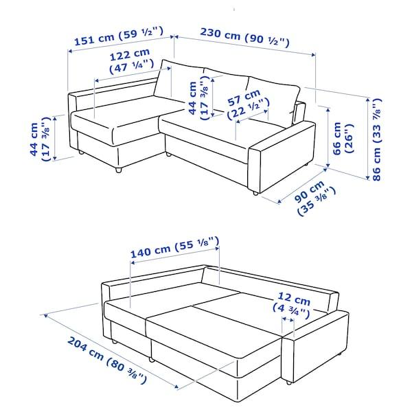 FRIHETEN Sofá-cama de canto c/arrumação, c/almofadas encosto extra/Skiftebo cinz esc