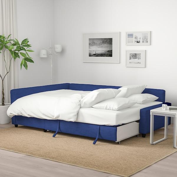 FRIHETEN Sofá-cama de canto c/arrumação, Skiftebo azul