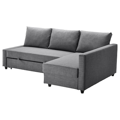 FRIHETEN Sofá-cama de canto c/arrumação, Skiftebo cinz esc