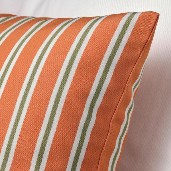 FUNKÖN Capa almofada, int/ext, laranja às riscas, 50x50 cm