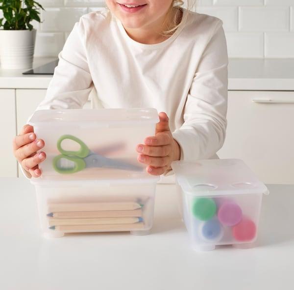 GLIS caixa c/tampa transparente 17 cm 10 cm 8 cm 3 unidades