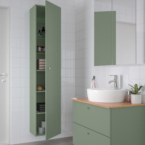 GODMORGON Armário alto, Gillburen verde acinzentado, 40x32x192 cm