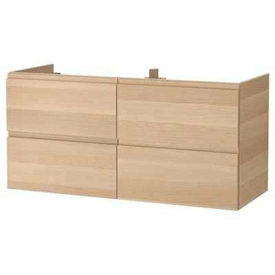 GODMORGON Armário p/lavatório c/4gavetas, ef carvalho c/velatura branca, 120x47x58 cm