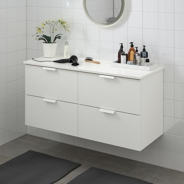 GODMORGON / TOLKEN Armário p/lavatório c/4gavetas, branco/branco, 122x49x60 cm
