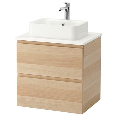 GODMORGON/TOLKEN / HÖRVIK Armário lavatório c/bancada 45x32, ef carvalho c/velatura branca/branco Brogrund torneira, 62x49x72 cm