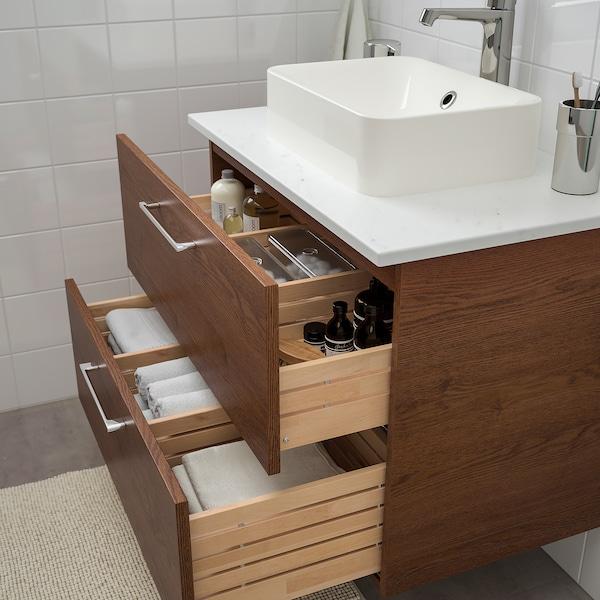 GODMORGON/TOLKEN / HÖRVIK Armário lavatório c/bancada 45x32, ef freixo c/velatura cast/efeito mármore Brogrund torneira, 82x49x72 cm