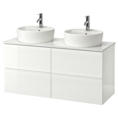 GODMORGON/TOLKEN / TÖRNVIKEN Arm p/lvt c/bnc 45 lvt, brilh branco/efeito mármore Dalskär torneira, 122x49x74 cm