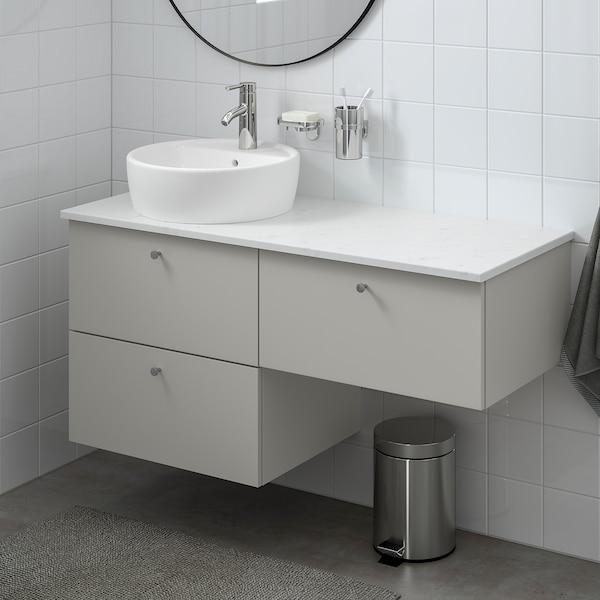 GODMORGON/TOLKEN / TÖRNVIKEN Móvel p/lavatório c/3 gavetas, Gillburen cinz clr/efeito mármore Dalskär torneira, 122x49x74 cm