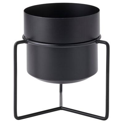 GOJIBÄR Vaso c/suporte, interior/exterior preto, 15 cm