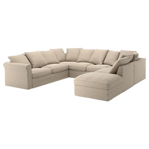 GRÖNLID Capa p/sofá em U, 6lug, c/lado aberto/Sporda cru