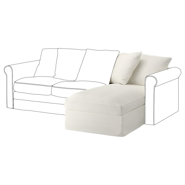 GRÖNLID Módulo chaise longue, Inseros branco