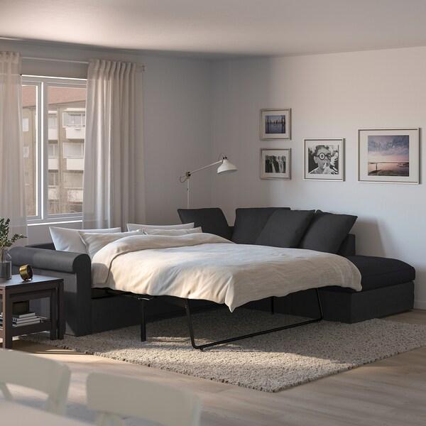 GRÖNLID Sofá-cama canto 4lug, c/lado aberto/Sporda cinz esc