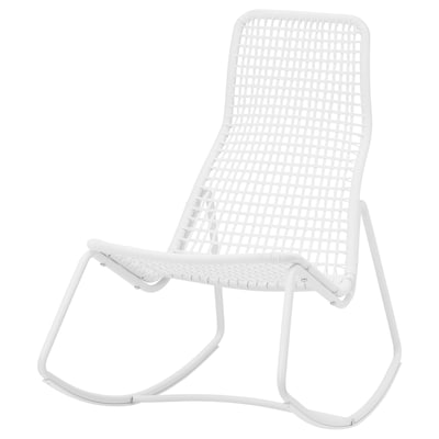GUBBÖN Cadeira baloiço, interior/exterior, branco