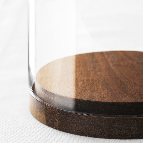 HÄRLIGA Campânula de vidro c/base, vidro transparente, 27 cm