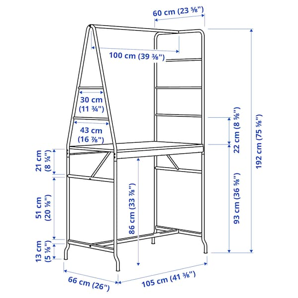 HÅVERUD / STIG Mesa e 2 bancos, preto/preto, 105 cm