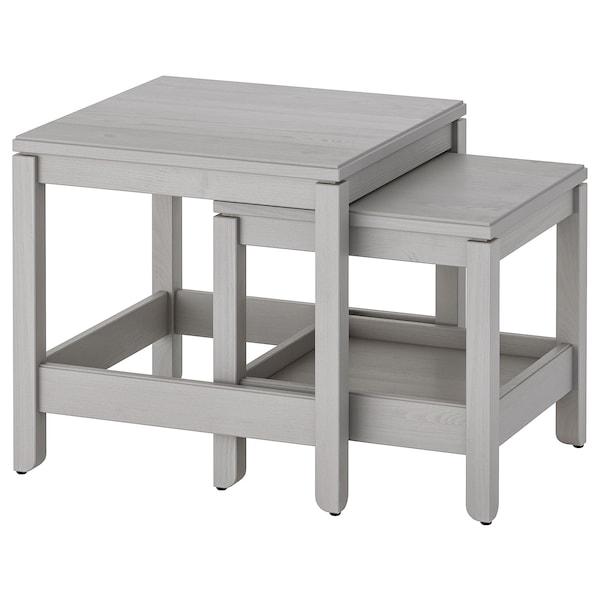 HAVSTA mesas de encaixar, conj. 2 cinz