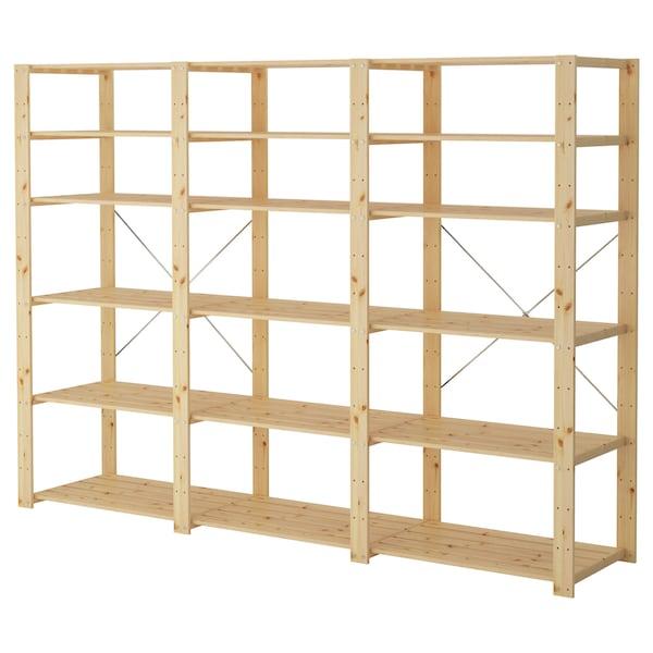 HEJNE 3 secções/prateleiras, madeira conífera, 230x50x171 cm