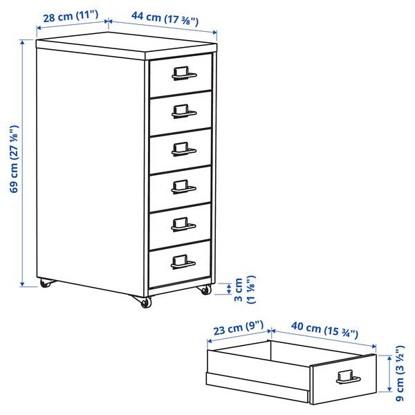 HELMER Bloco de gavetas c/rodízios, branco, 28x69 cm