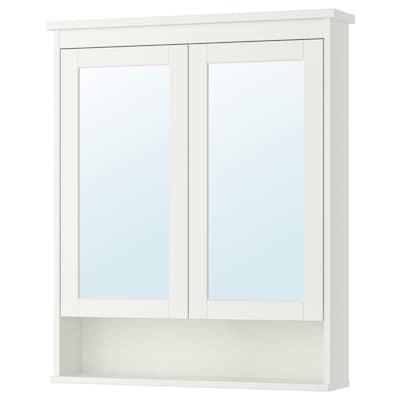 HEMNES Armário espelhado c/2 portas, branco, 83x16x98 cm