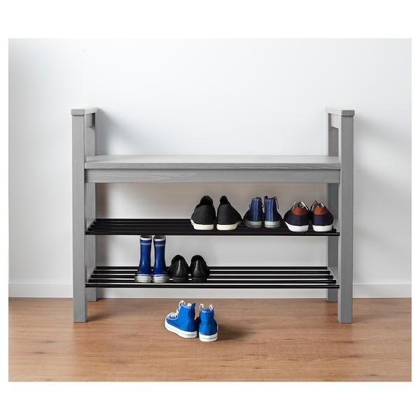 HEMNES Banco c/arrumação p/sapatos, cinz c/velatura, 85x32 cm