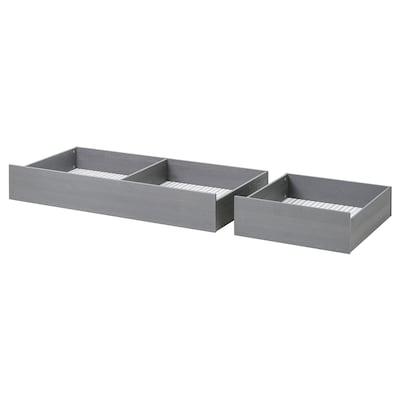 HEMNES Caixa arrumação p/cama, conj. 2, cinz c/velatura, 200 cm
