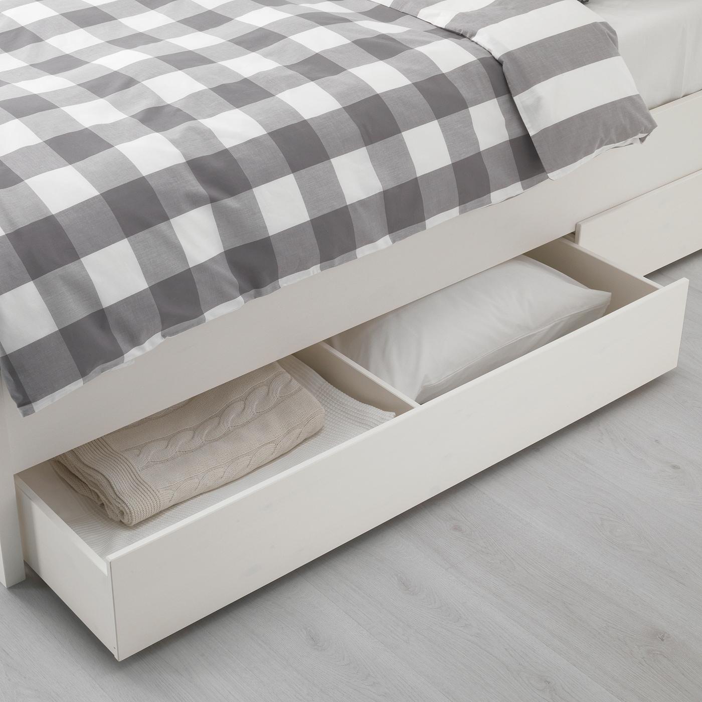 HEMNES Caixa arrumação p/cama, conj. 2 - velatura branca 200 cm